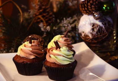after eight cupcake, chocolate, mint, buttercream icing