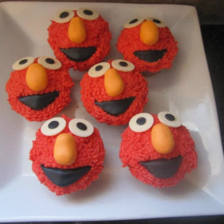 elmo cupcaks, buttercream icing, chocolate
