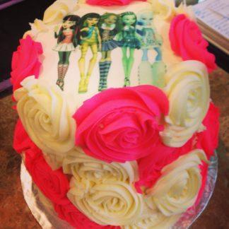 rose cake, frosting sheet