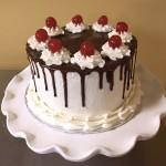 black forest cake, chocolate ganache, cherries