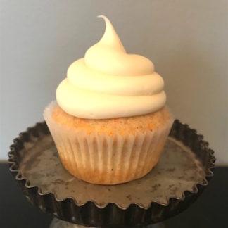 carrot cake cupcake, cream cheese icing
