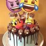 emoji cake, buttercream icing, chocolate ganache, candy, poop emoji