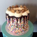 cookie dough cake, buttercream icing, sprinkles, chocolate ganache