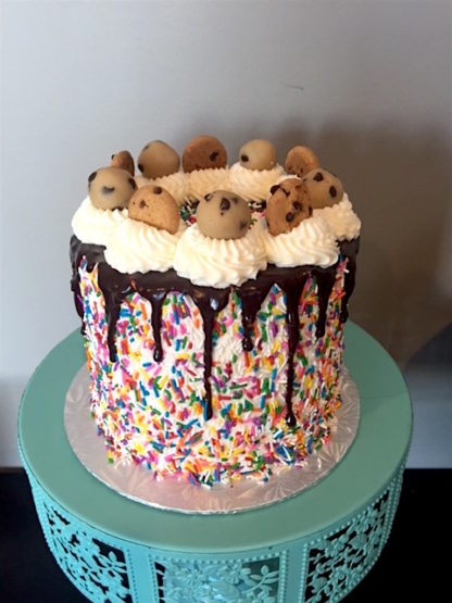 cookie dough cake, buttercream icing, sprinkles, chocolate ganache