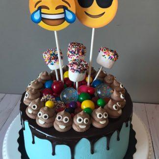 emoji cake, buttercream icing, poop emoji, candy, chocolate ganache