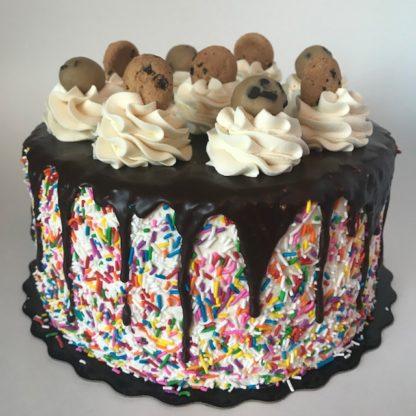 cookie dough, buttercream icing, chocolate ganache, sprinkles