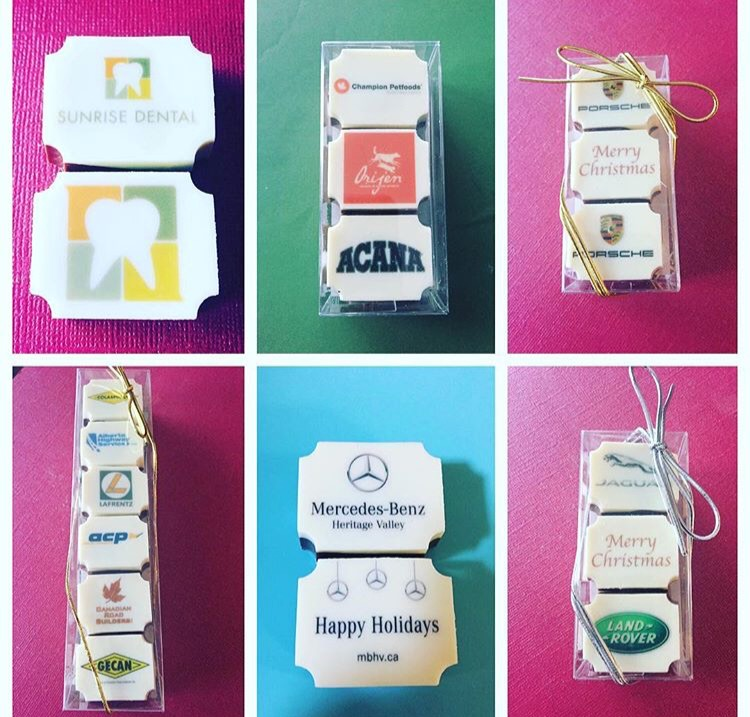 corporate dessert delivery, printed chocolates, gifts, corporate event, christmas gifts