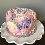 floral cake, buttercream, flowers