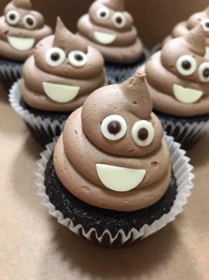 poop emoji cupcakes, buttercream icing