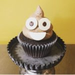 poop emoji cupcake, chocolate