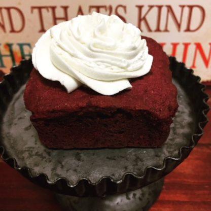 red velvet brownie, buttercream icing
