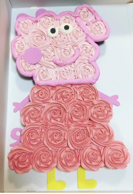 custom desserts, party desserts, custom cake, themed cake, frosting sheet, birthday cake, cupcake cake, peppa pig