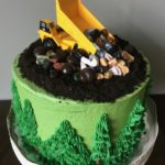 birthday cake, construction cake, buttercream icing