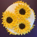 birthday cake, sunflowers, party cake, buttercream icing
