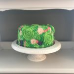 floral cake, island colors, moana inspired, birthday party, buttercream icing