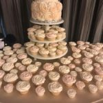wedding cupcake tower, wedding cake, two tier cake, rose buttercream flowers