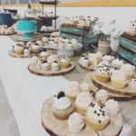 rustic wedding dessert table, regular size cupcakes, teal