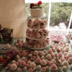 cupcake tower, wedding, flowers
