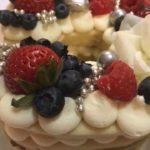 sugar cookie cake, fruit, buttercream icing, anniversary