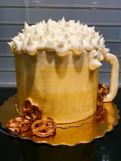 beer cake, adult birthday party, buttercream icing, custom cake