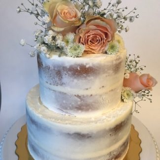 specialty cake, scraped cake, naked cake, flower topper, buttercream icing