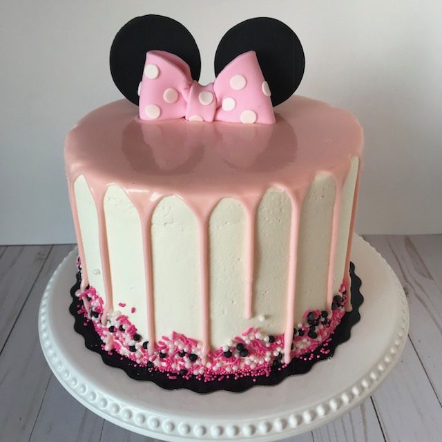 minnie mouse cake, buttercream icing, specialty cake, custom cake, birthday cake