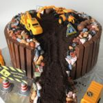personalized cake, construction cake, buttercream icing, custom cake