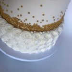 custom cake, buttercream cake, two tier cake, gold