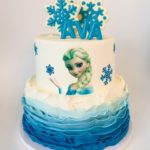 custom cake frozen cake, two tier cake, buttercream icing