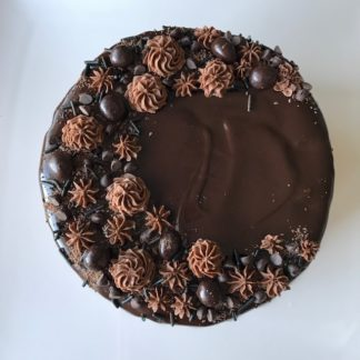 triple chocolate cake, buttercream icing