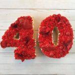 sugar cookie cake, anniversary cake, red