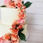 wedding cake, flowers, buttercream icing, custom cake