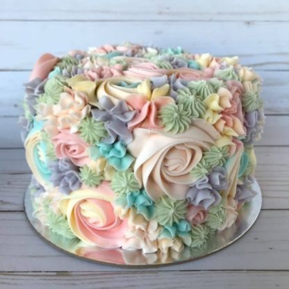 floral cake, buttercream flowers, rainbow