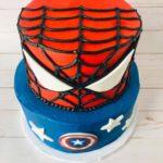 spiderman cake, captain america cake, buttercream