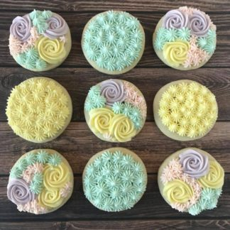 easter lofthouse, buttercream icing, cookies