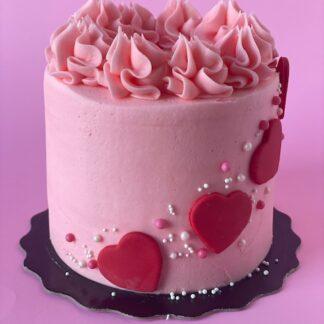 heart cascade cake, valentines cake