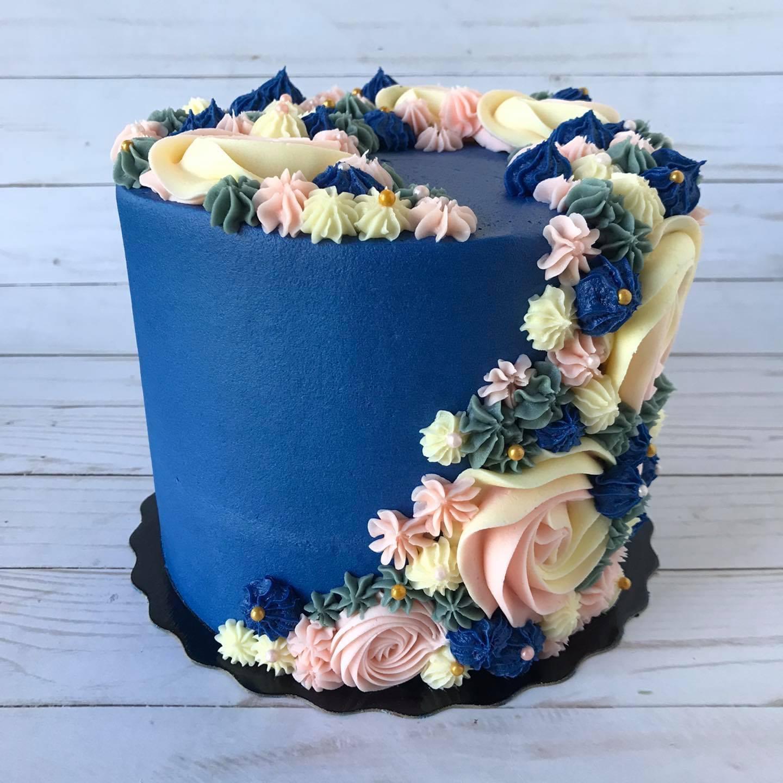buttercream cake, custom cake, floral cake